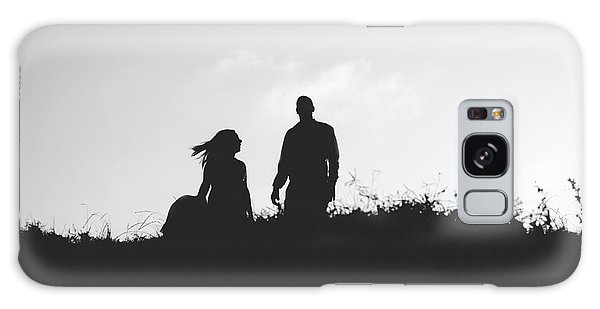 Silhouette Of Couple In Love With Wedding Couple On Top Of A Hil Galaxy Case