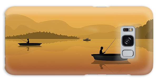 Glow Galaxy Case - Silhouette Of Fishermen In A Boat With by S veresk