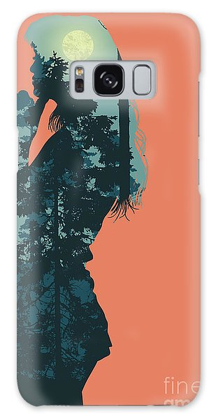 Pine Branch Galaxy Case - Silhouette Of Girl And Night Forest by Jumpingsack