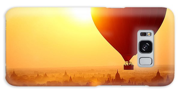 Dawn Galaxy Case - Silhouette Of Hot Air Balloon Over by Daxiao Productions