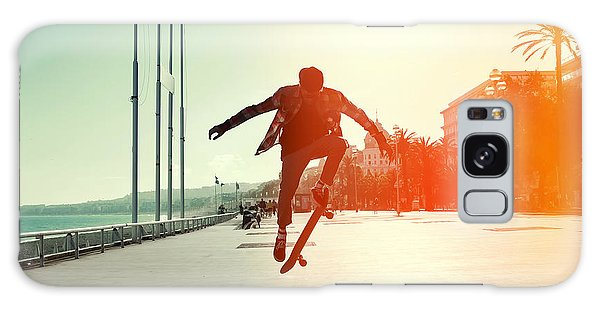 Active Galaxy Case - Silhouette Of Skateboarder Jumping In by Maxim Blinkov