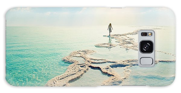 Seashore Galaxy Case - Silhouette Of Young Woman Walking On by Vvvita