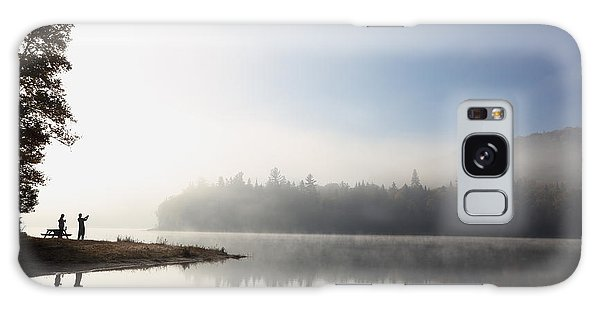 Cottage Galaxy Case - Silhouette. Relaxing Morning On Lake by Barisev Roman
