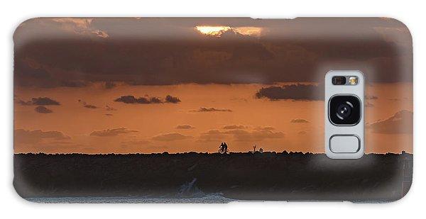 Silhouettes, Breakwall And Sunrise Seascape Galaxy Case