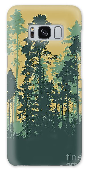 Pine Branch Galaxy Case - Silhouettes Of Coniferous Forest by Jumpingsack