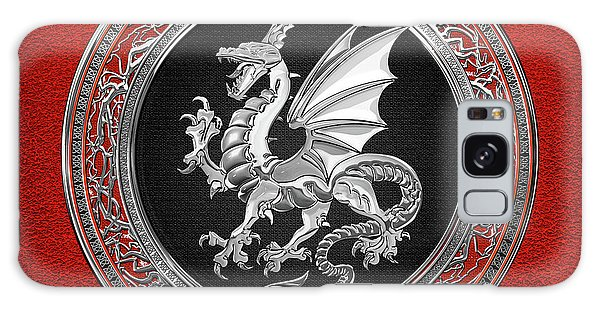Silver Winged Norse Dragon - Icelandic Viking Landvaettir On Black And Silver Medallion Over Red  Galaxy Case