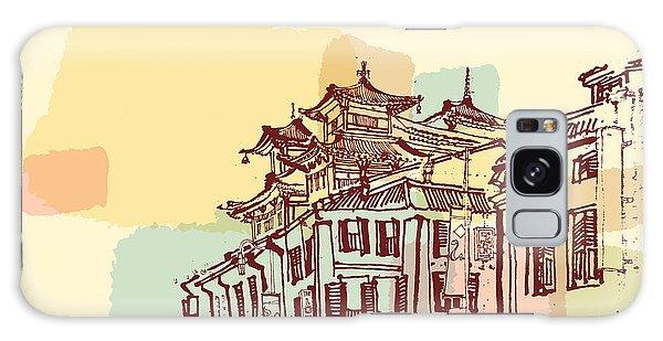 Buddhism Galaxy Case - Singapore China Town Drawing. Vintage by Babayuka