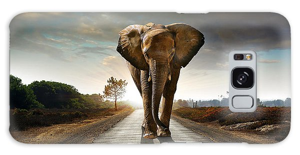 Powerful Galaxy Case - Single Elephant Walking In A Road With by Carlos Caetano