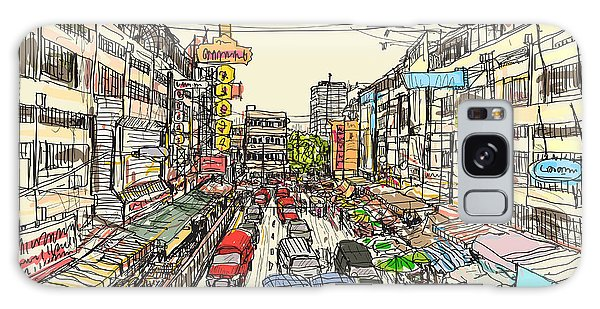 Old Road Galaxy Case - Sketch Thai Local Market Place In by Tnonra081