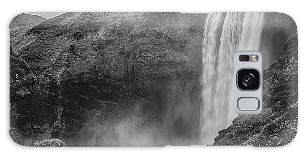 Galaxy Case featuring the photograph Skogafoss Iceland Black And White by Nathan Bush