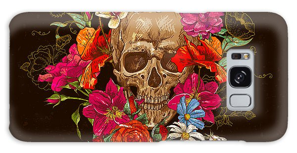 Death Galaxy Case - Skull And Flowers Day Of The Dead by Depiano