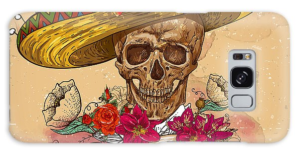 Mexican Galaxy S8 Case - Skull In Sombrero With Flowers Day Of by Depiano