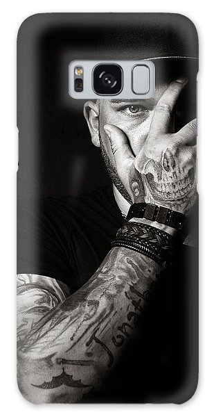 Hiding Galaxy Case - Skull Tattoo On Hand Covering Face by Johan Swanepoel