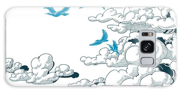 Realistic Galaxy Case - Sky Background, Clouds And Blue Birds by Danussa