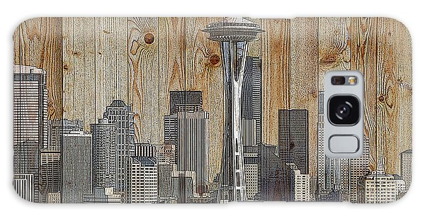 Skyline Of Seattle, Usa On Wood Galaxy Case