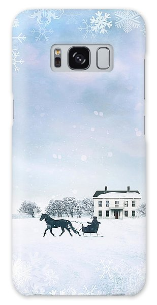 Sleigh With Horse In Snow Winter Scene Galaxy Case