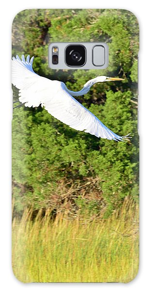 Snow Egret Soaring Above The Marsh Galaxy Case