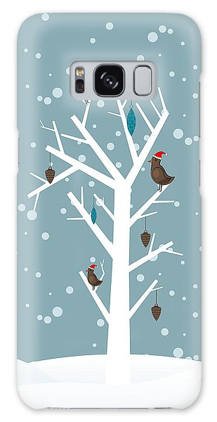 Santa Claus Galaxy Case - Snow Fall Background With Birds Sitting by Allies Interactive