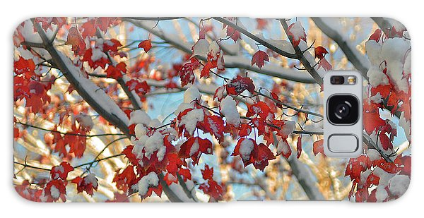 Snow On Maple Leaves Galaxy Case