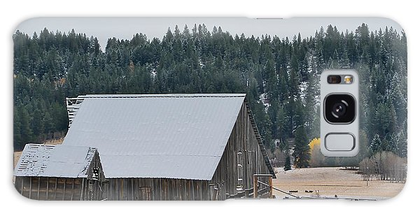 Snowy Barn Yellow Tree Galaxy Case