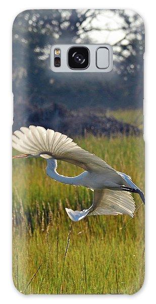 Snowy Egret Fanning In Flight Galaxy Case