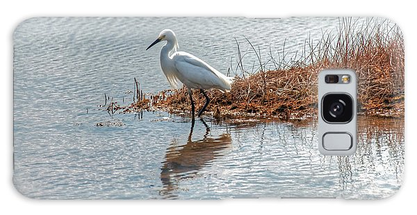Snowy Egret Hunting A Salt Marsh Galaxy Case