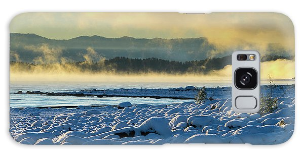 Snowy Shoreline Sunrise Galaxy Case