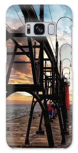 Galaxy Case featuring the photograph South Haven Pier Sunset by Lars Lentz