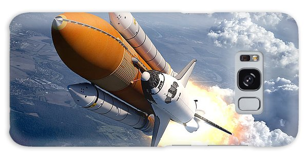Realistic Galaxy Case - Space Shuttle Flying Over The Clouds by 3dsculptor