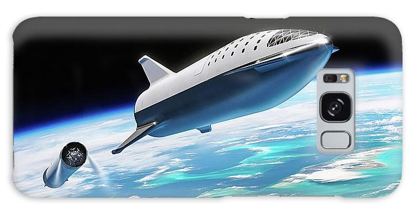 Galaxy Case featuring the digital art Spacex Bfr Big Falcon Rocket With Earth by Pic by SpaceX Edit by M Hauser