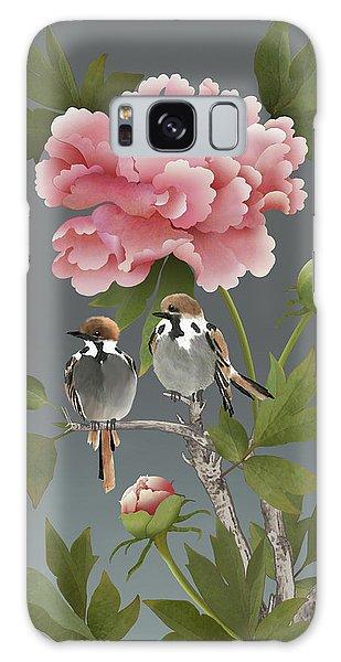 Sparrows And Peony Galaxy Case