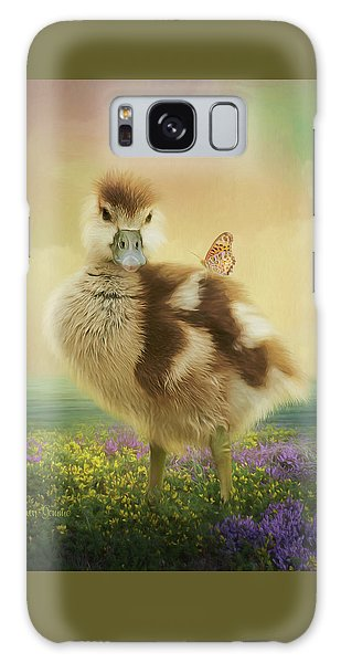 Gosling Galaxy Case - Spring Gosling And Butterfly Painting by Dawn Gemme