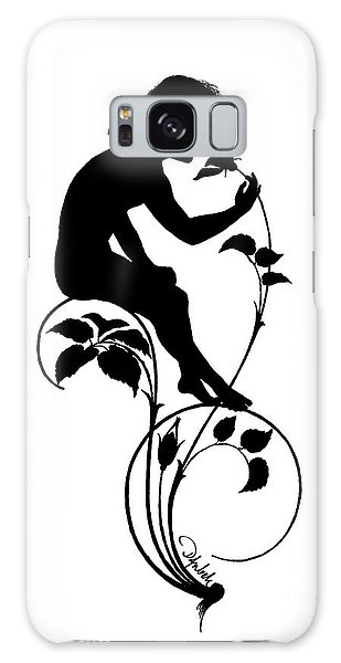 Pen And Ink Drawing Galaxy Case - Sprite Sniffing A Flower by Karl Wilhelm Diefenbach
