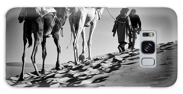 Caravan Galaxy Case - Square Black & White Image Of 2 Men And by Abo Photography