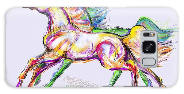 Crayon Bright Horses Galaxy Case