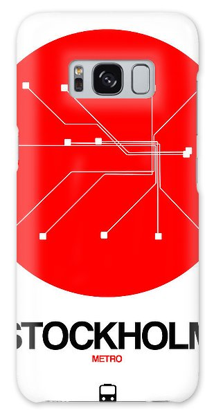 Sweden Galaxy Case - Stockholm Red Subway Map by Naxart Studio