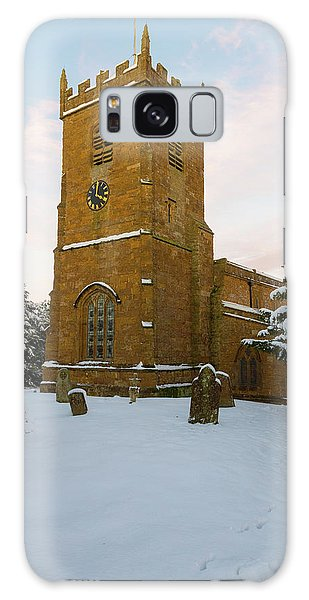 Stone Church In The Snow At Sunset Galaxy Case