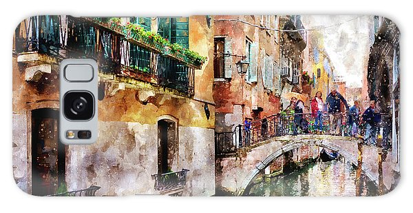 People On Bridge Over Canal In Venice, Italy - Watercolor Painting Effect Galaxy Case