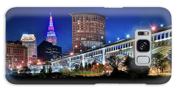Town Square Galaxy Case - Stretching Out On A Colorful Night by Frozen in Time Fine Art Photography