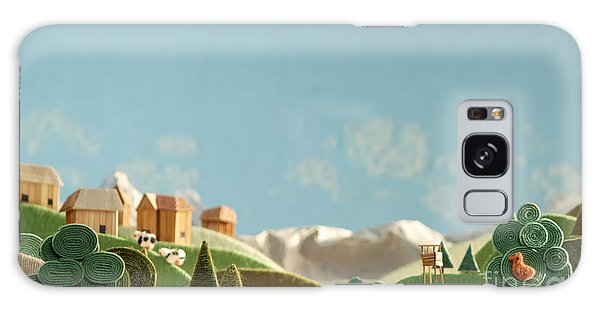 Pasture Galaxy Case - Stylized Alpine Landscape Made Of Wool by Kreus