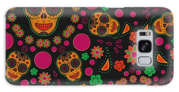 Mexican Galaxy S8 Case - Sugar Skull Seamless Pattern by Blackspring