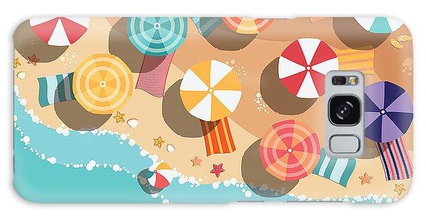 Parasol Galaxy Case - Summer Beach In Flat Design, Aerial by Bluelela