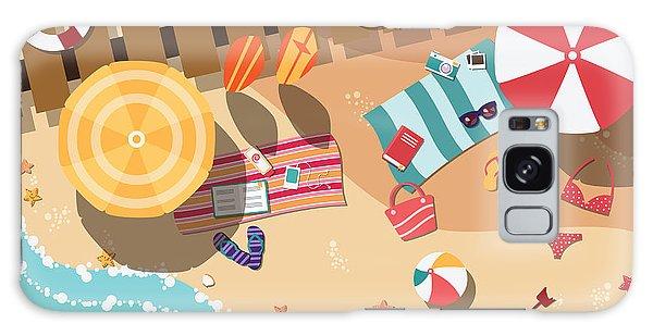 Parasol Galaxy Case - Summer Beach In Flat Design, Sea Side by Bluelela