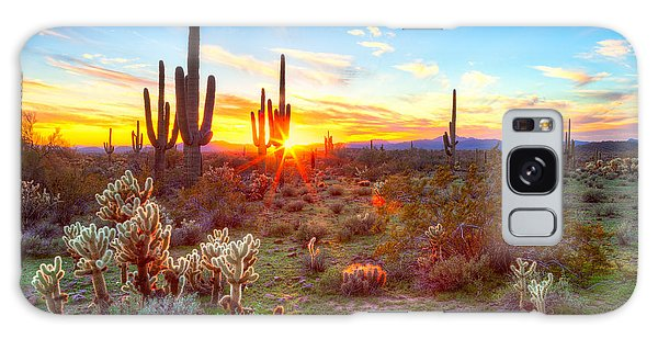 Southwest Usa Galaxy Case - Sun Is Setting Between Saguaros, In by Anton Foltin