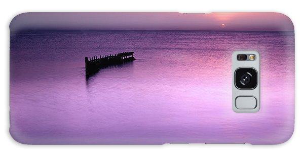 Sun Sets On A Sunken Boat Galaxy Case