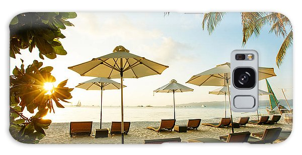 Summertime Galaxy Case - Sun Umbrellas And Beach Chairs On by My Good Images