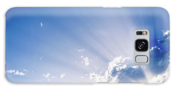 Sunbeams Rising From A Large Cloud In Intense Blue Sky On A Summer Afternoon Galaxy Case