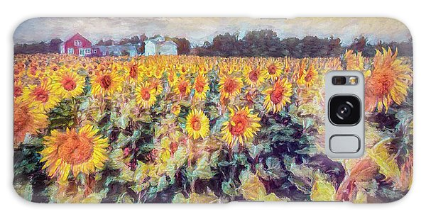 Sunflowers Surround The Farm Galaxy Case