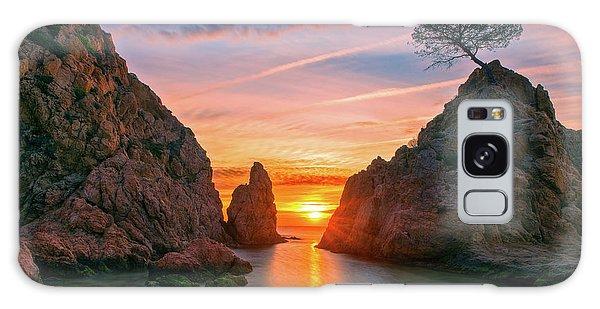 Sunrise In The Village Of Tossa De Mar, Costa Brava Galaxy Case