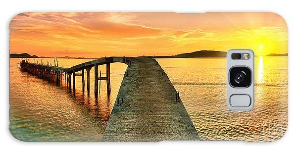 Dusk Galaxy Case - Sunrise Over The Sea. Pier On The by Khoroshunova Olga